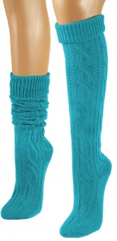 Knee-Length Winter Socks, Turquoise