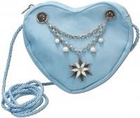Vorschau: Dirndl-Herztasche Edelweiß hellblau