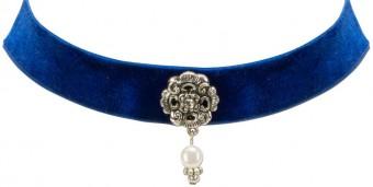 Trachten Kropfband mit Ornament blau