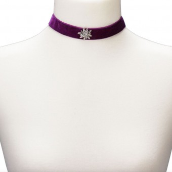 Thick Velvet Choker with Edelweiß, Purple