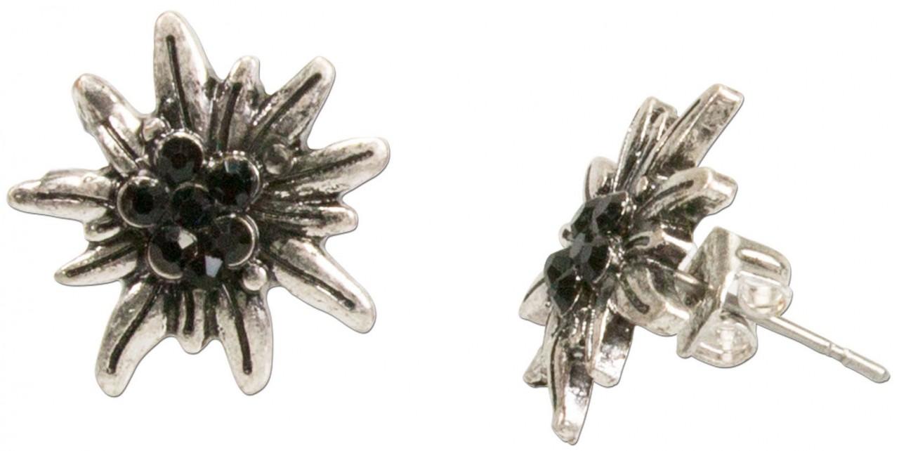 Mini-Trachten-Ohrstecker Edelweiß schwarz