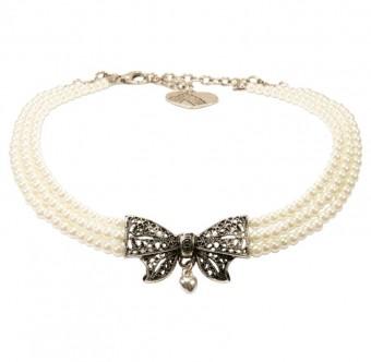 Perlen-Kropfkette Schleife creme-weiß