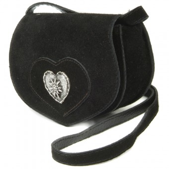 Wildledertasche in Herzform klein schwarz