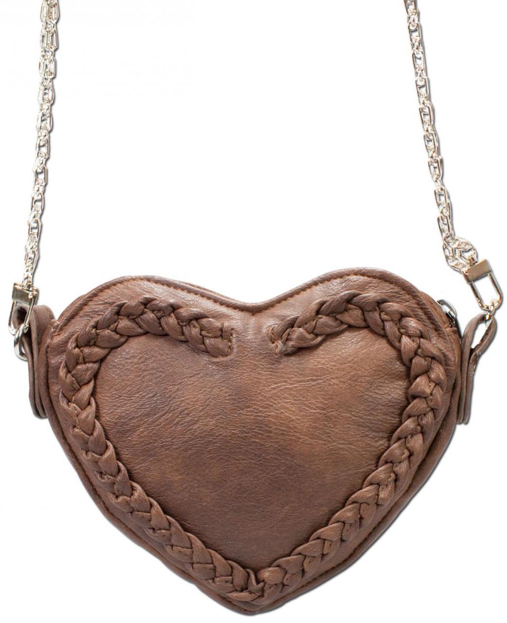 Trachten Herztasche Kunstleder braun