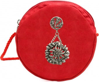 Trachten Pocket Bag with Edelweiß Emblem, Red