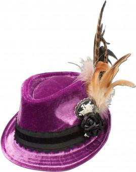 Tradycyjny aksamitny kapelusz Liliane fioletowy