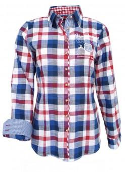 Trachtenhemd Ina blau-rot
