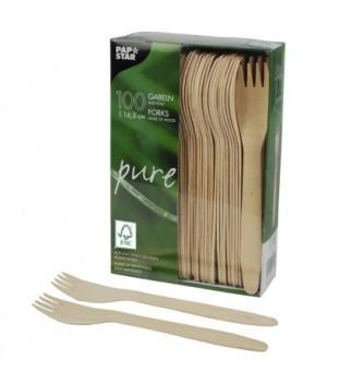100 FSC-houten vorken 16,5 cm