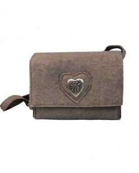 Filztasche mit Herzchen beige-braun