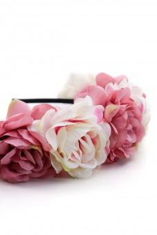 Haarreif mit großen rosa Blüten