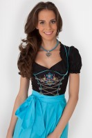 Exciting 3-piece black midi dirndl with apron