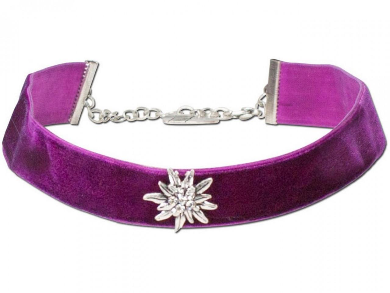 Samtkropfband breit mit Edelweiß lila