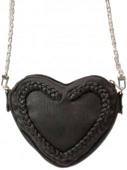 Trachtentasche Herztasche Kunstleder schwarz