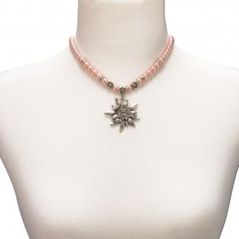 Perlenhalskette großes Edelweiß rosé