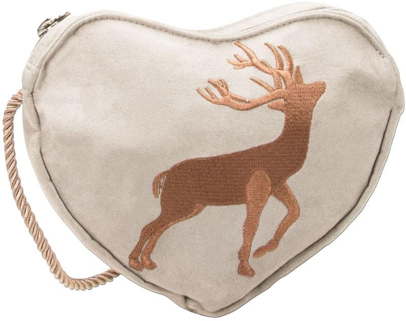 Trachten Herztasche Hirsch beige