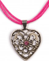 Dirndl Necklace - Bavarian Oktoberfest - Satin String - Heart with Stone, hot pink