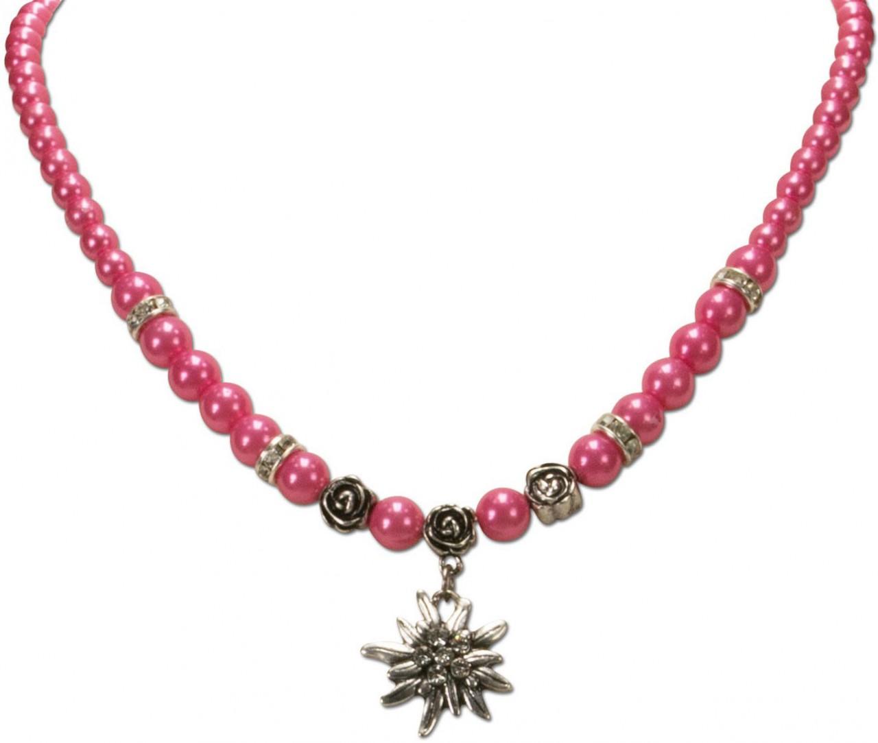 Trachtenkette kleines Edelweiß pink