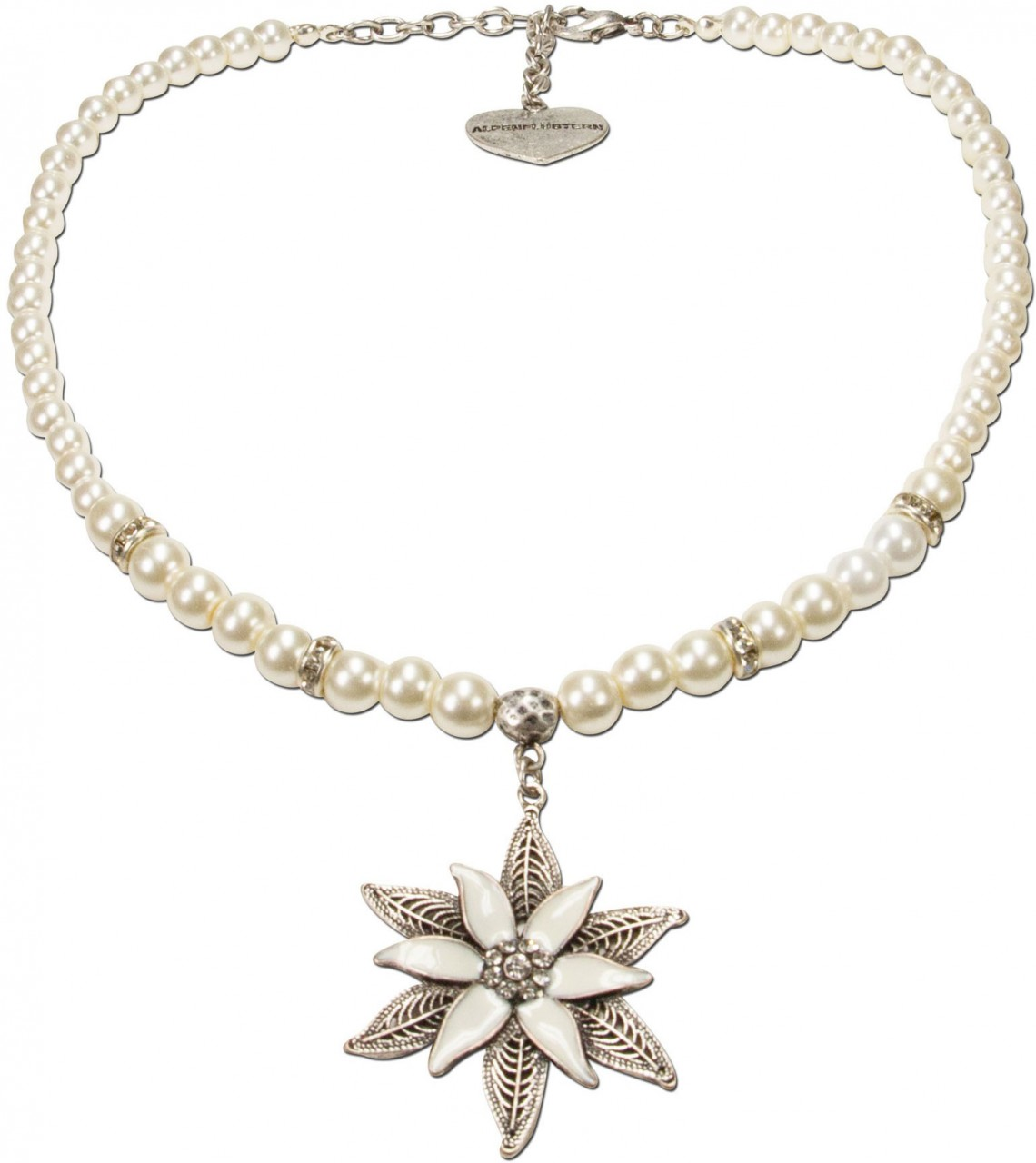 Traditional necklace Leandra creamy white