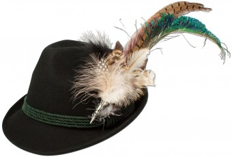 Felt Hat with Peacock Feather, Black