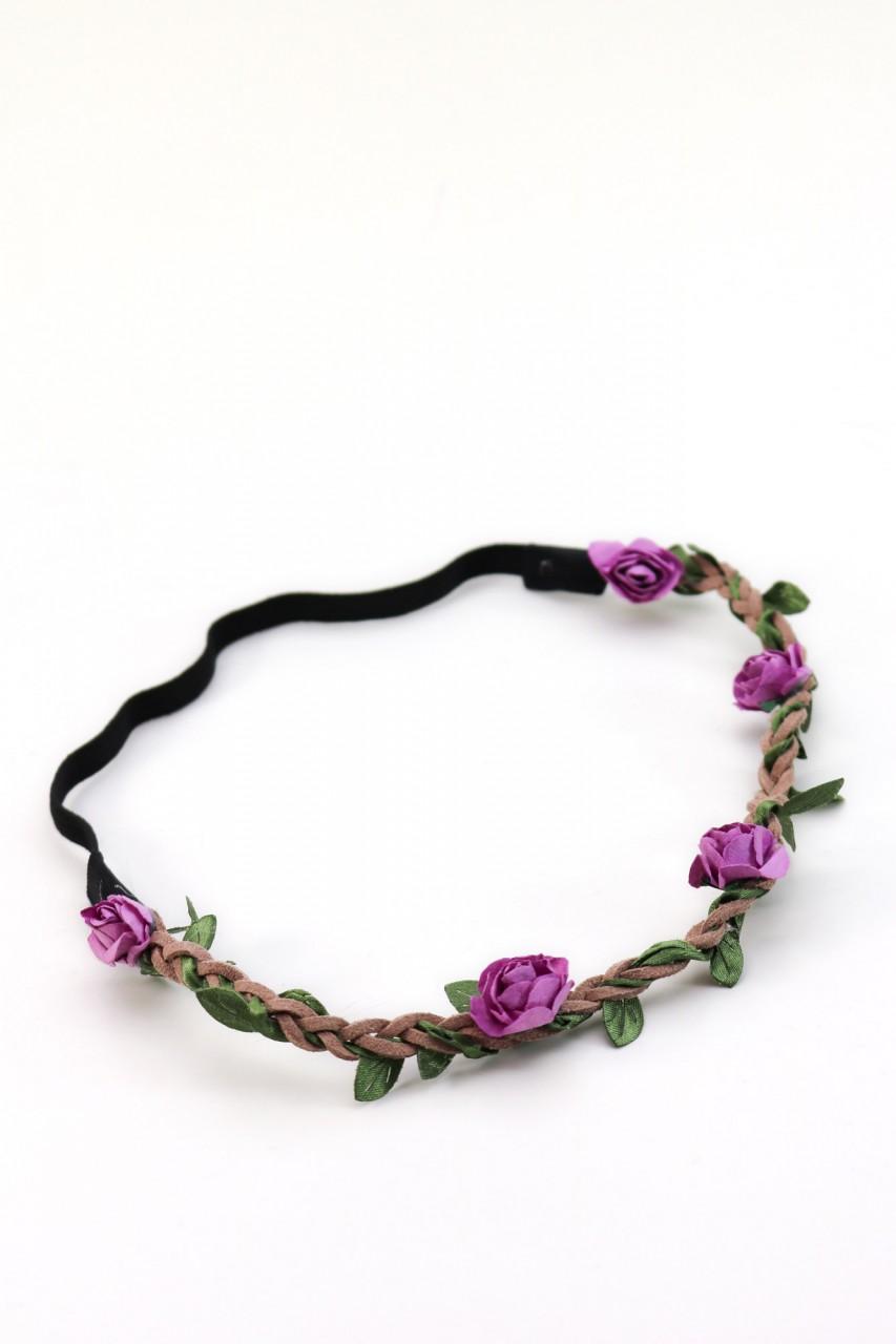 filigranes Haarband mit kleinen lila Blüten