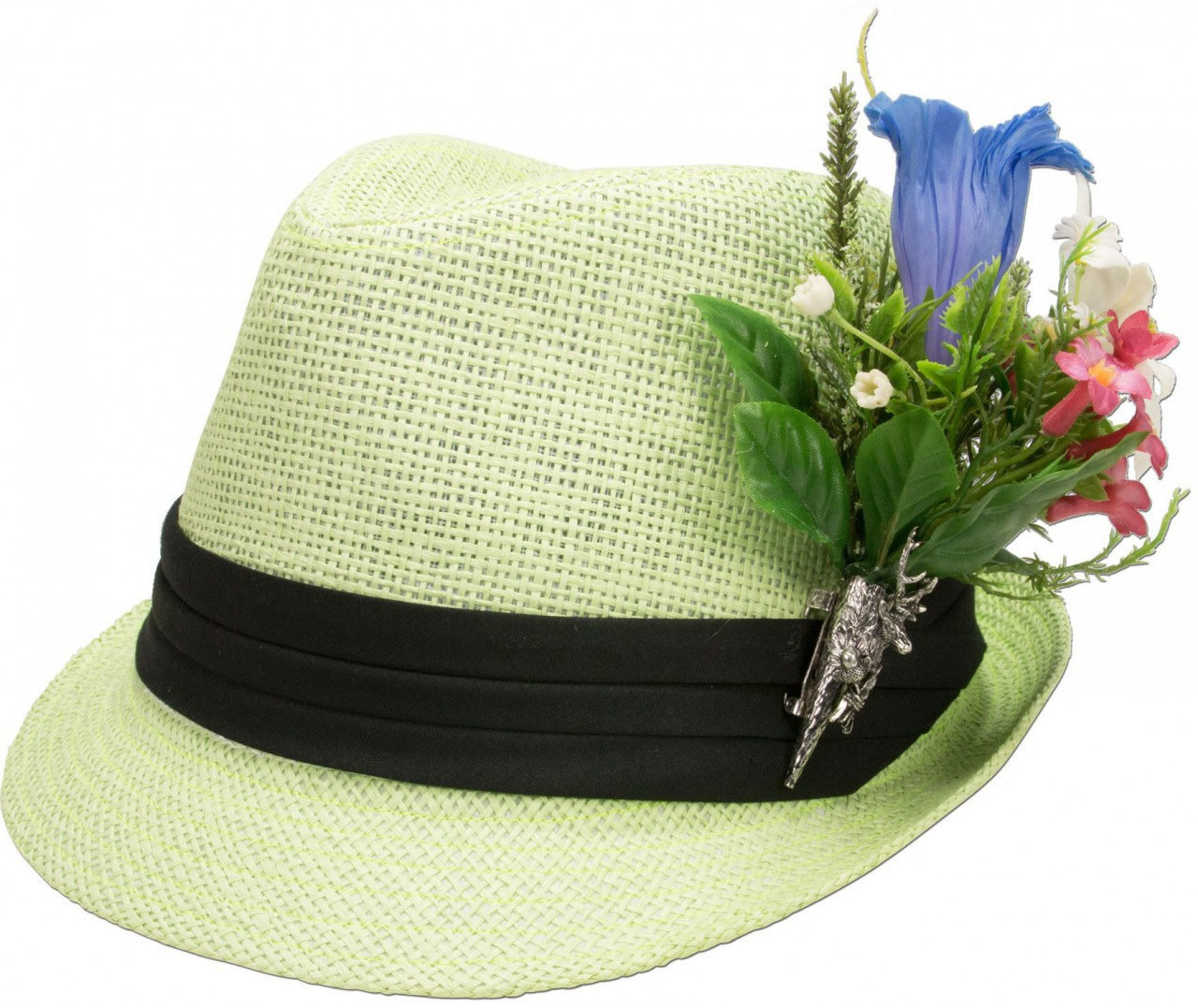 Strohhut Alpenblümchen hellgrün