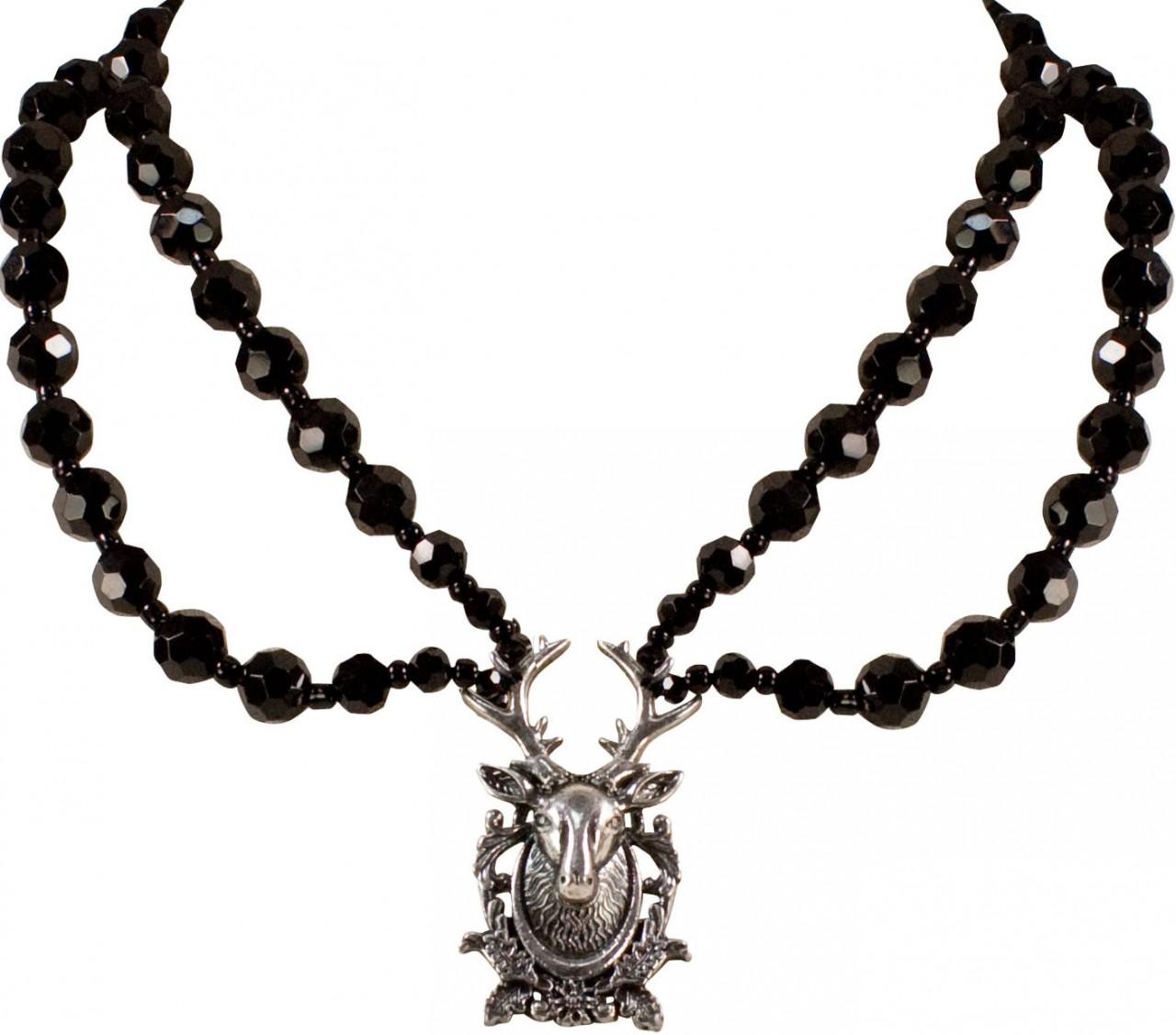 Perlenhalskette Hirschkopf schwarz