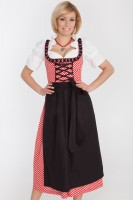 3-piece red polka dot dirndl with long red skirt