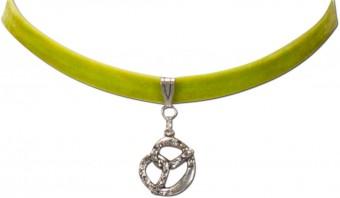 Trachten Samtkropfband Brezel hellgrün