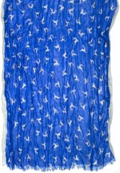 Trachtenschal hüpfende Hirsche blau