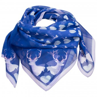 Trachtentuch verliebter Hirsch blau