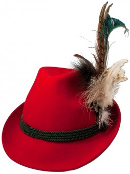 Felt Hat with Peacock Feather, Red