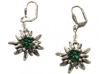 Trachten Earrings, Edelweiß, Silver-Green