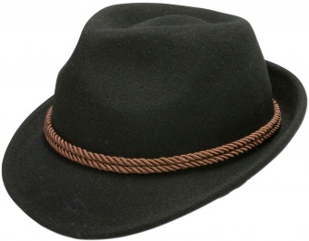 Felt Hat with Tyrolean Braid, Black