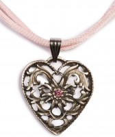 Dirndl Necklace - Bavarian Oktoberfest - Satin String - Heart with Stone, pink