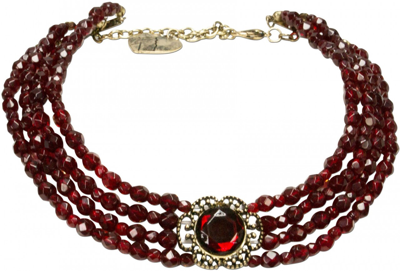 Traditional pearl necklace Ellie claret