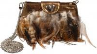 Vorschau: Trachten Handtasche Federn gold