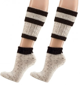 Trachten Socks, 2-pieces, Cream-Dark Brown