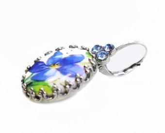 Ohrhänger Blume blau