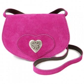 Wildledertasche in Herzform klein pink
