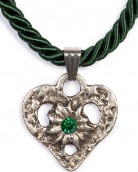 Braid Necklace with Heart Pendant, Fir Green