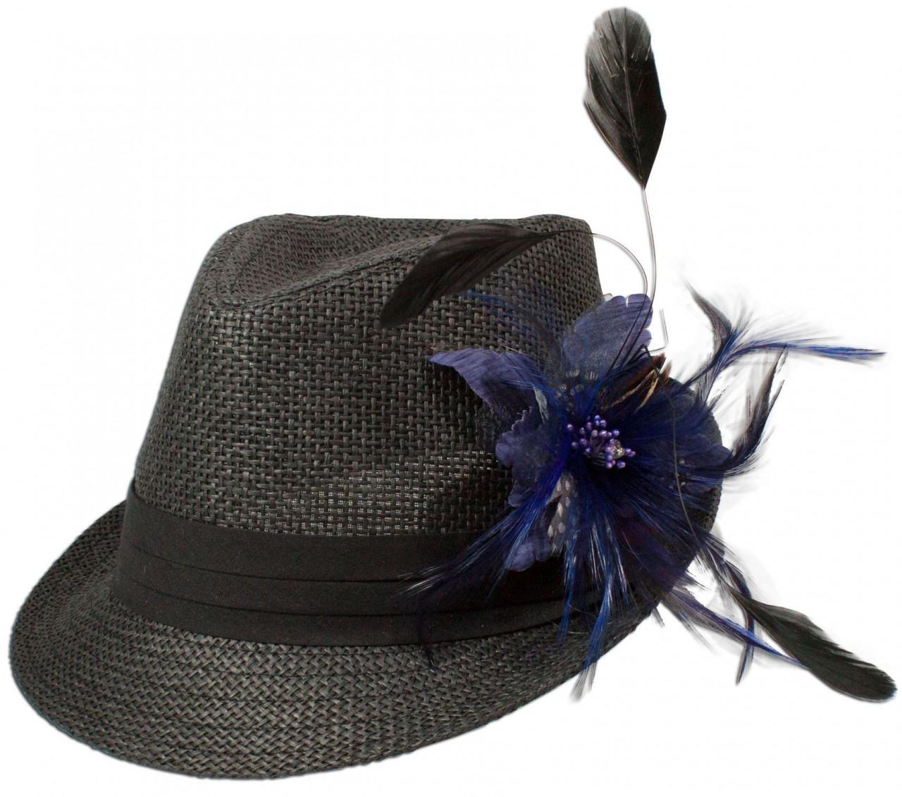 Strohhut Leni mit Federbrosche blau