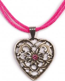 Herzkette mit Stein und 2 Satinbändern, pink