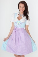 3-piece light blue gingham dirndl with gingham apron