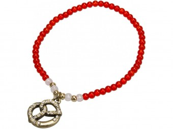 Trachten Pearl Bracelet with Diamante Pretzel, Red