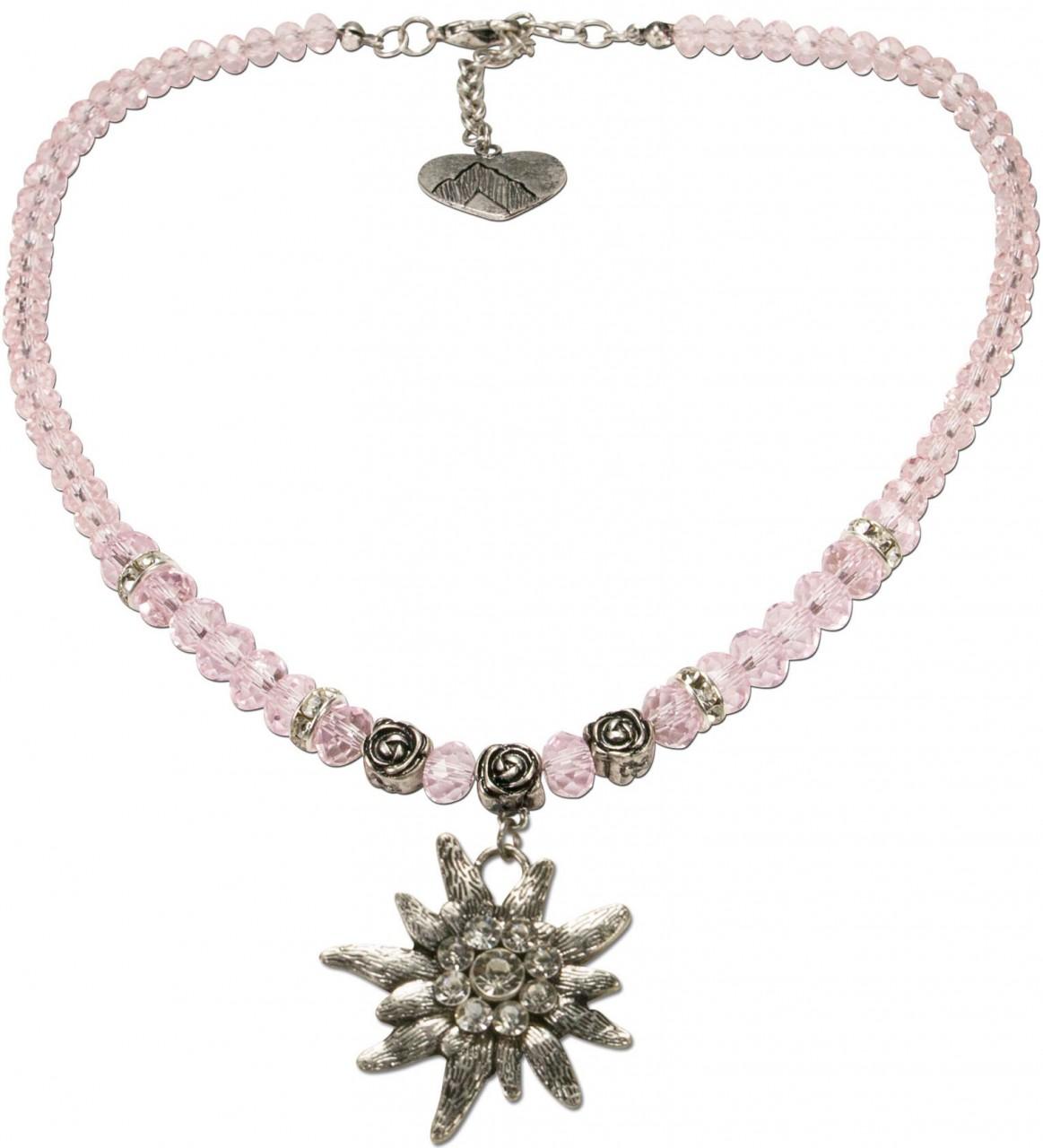 Trachtenkette großes Edelweiß rosa