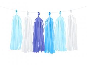 Tasselgirlande blau weiß 1,5m