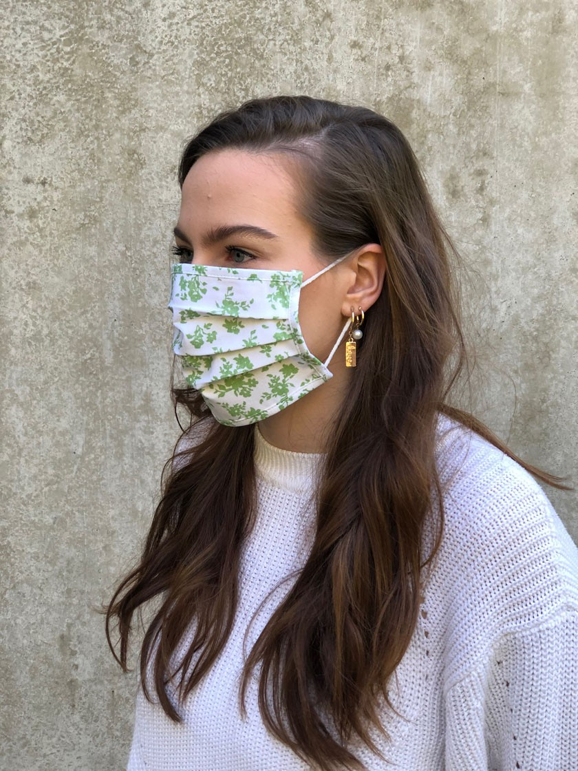 Mund-Nasen-Maske Blüten grün
