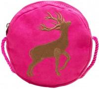 Trachten Rundtasche mit Hirsch-Stickerei pink