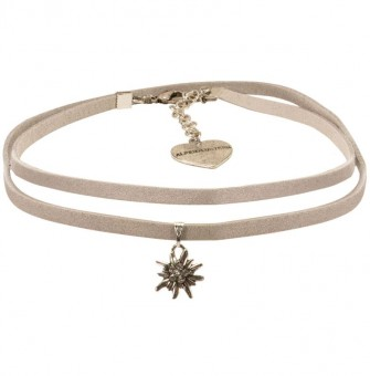 Wickelband-Halskette Edelweiß grau