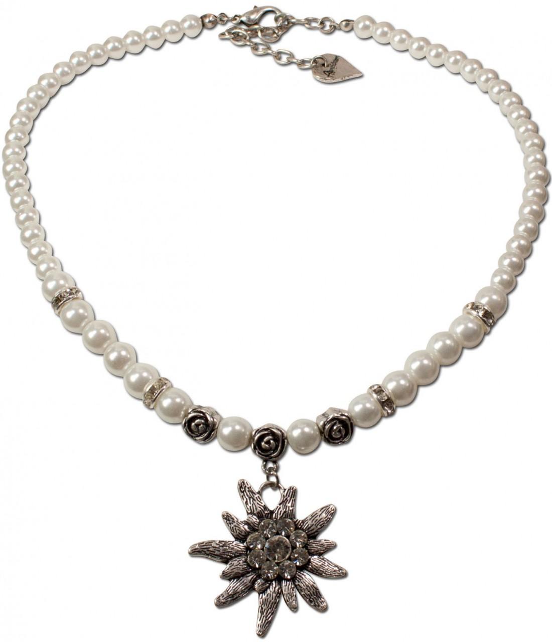 Perlenhalskette großes Edelweiß cremeweiß